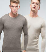Asos 2 Pack Muscle Fit Cotton Sweater In Khaki/Beige SAVE