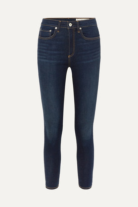 Rag & Bone Dre Cropped Mid-rise Slim-leg Jeans - Dark denim