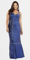 Faviana Mesh Strap Sequin Plus Size Prom Dresses