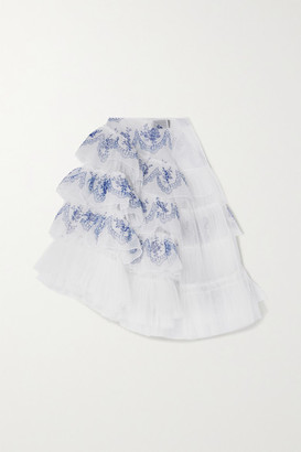 Simone Rocha Asymmetric Ruffled Printed Organza And Tulle Midi Skirt - White