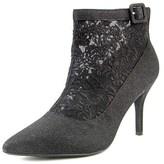 J. Renee Haldana Women Pointed Toe Canvas Black Ankle Boot.