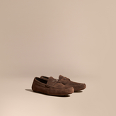 Burberry Suede Loafers With Engraved Check Detail