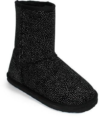 OLIVIA MILLER Glitter Dot Faux Fur Lined Bootie