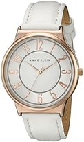Anne Klein Women's AK/1928RGWT Easy-To-Read Two-Tone Watch with White Leather Band