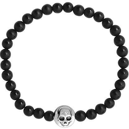 King Baby Studio Women's 925 Sterling Silver Matte Black Onyx Polished Center Stripe Bead Silver Hamlet Skull Button Bead Bracelet