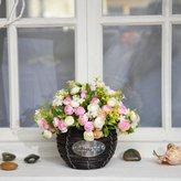 Artificial Flower SituMi SituMi Artificial Fake Flowers Home Decoration Silk Flower Wedding Bouquet Kit Rattan Vase,Large Basket7Toner Rose
