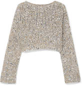 Brunello Cucinelli Cropped Sequined Open-knit Sweater - Silver