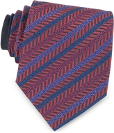 Missoni Red and Purple Diagonal Stripe Woven Silk Tie