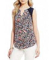 Lucky Brand Sleeveless Tassel Tie-Neck Floral Print Knit Top