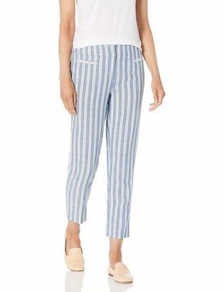 Nine West Women's Plus Size Stripe Ankle Pant with Front Pockets and Side Slit Detail