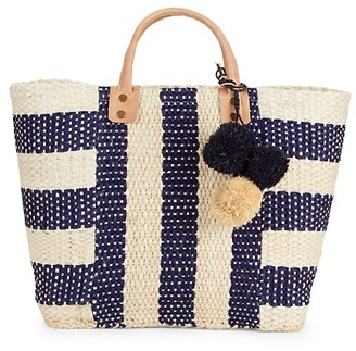 Mar y Sol Collins Striped Raffia Tote