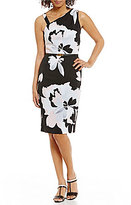 Jones New York Floral Placement Print One-Shoulder Belted Sheath Dress