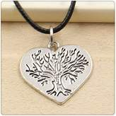 Nobrand No brand Fashion Tibetan Silver Pendant heart tree Necklace Choker Charm Black Leather Cord Handmade Jewlery