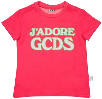 GCDS Rubberized Logo Cotton Jersey T-Shirt