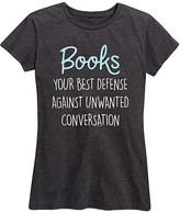 Instant Message Women's Women's Tee Shirts HEATHER - Heather Charcoal 'Books Best Defense' Relaxed-Fit Tee - Women & Plus