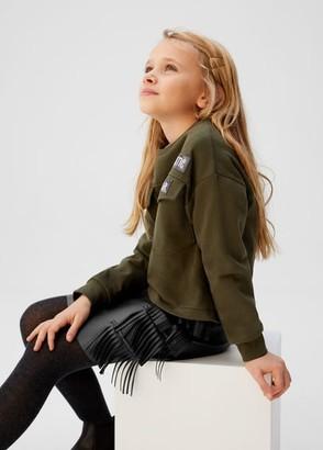 MANGO Faux-leather fringe skirt