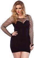 Leg Avenue Women's Plus Size Seamless Mini Dress with Diamond Net Bodice and Sleeves
