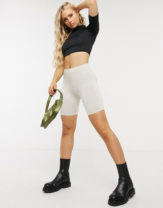 ASOS DESIGN Hourglass basic legging short in stone