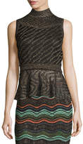 M Missoni Sleeveless Solid Lurex®; Openwork Peplum Top, Black