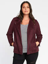 Old Navy Sueded-Knit Plus-Size Moto Jacket