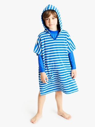 John Lewis & Partners Boys' Stripe Towelling Poncho, Blue