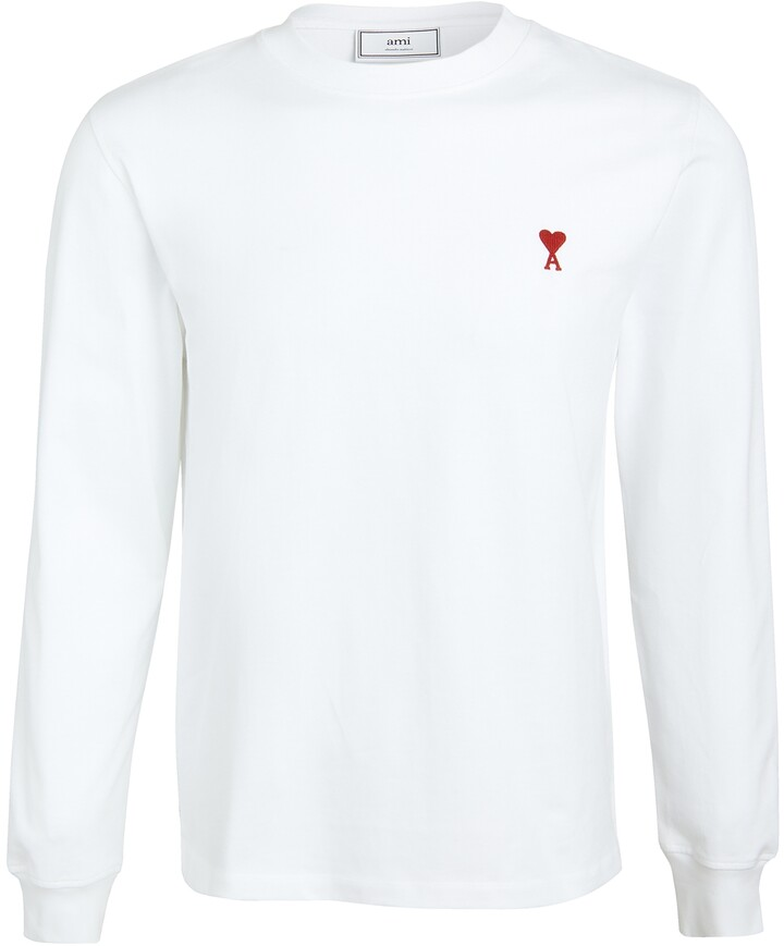 Thumbnail for your product : Ami Heart Embroidered Long Sleeve T Shirt