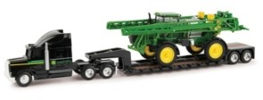 Tomy John Deere 1/64 Scale R4038 Sprayer with Semi and Lowboy Trailer