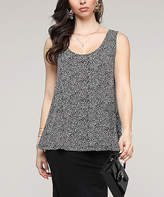 Lbisse Women's Tank Tops Black - Black & Khaki Leopard Scoop Neck Swing Tank - Women