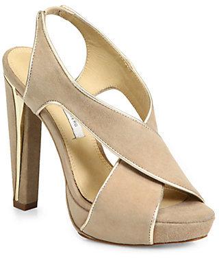 Diane von Furstenberg Julia Suede & Metallic Leather Crisscross Sandals