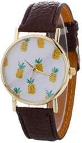 Hotkey® Hotkey Watches Men's And Women's Quartz Watches Pineapple Printing Leather Bracelet Lady Womans Wrist Watch