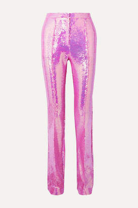Paco Rabanne Sequined Satin Straight-leg Pants - Pink