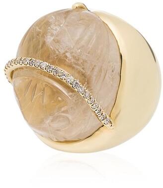 Kimberly 18kt Yellow Gold Diamond Quartz Ring