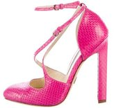 Brian Atwood Snakeskin Round-Toe Pumps