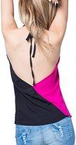 YACUN Women's Sleeveless Halter V-Neck Chiffon T-Shirt Vest M