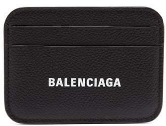 Balenciaga Cash Logo-print Leather Cardholder - Womens - Black
