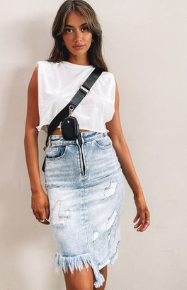 Bb Exclusive Fleur Denim Midi Skirt Vintage Blue