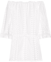 Miguelina Tabitha Off-the-shoulder Crochet-paneled Cotton-voile Dress - White
