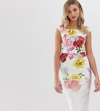 True Violet exclusive off shoulder bodycon dress in faded floral print-Multi