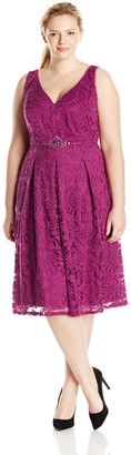 Adrianna Papell Women's Plus-Size Embellished Waist Fit N Flare Dress
