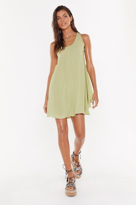 Nasty Gal Womens Side Eye Lace-Up Cover-Up Dress - Green - 8
