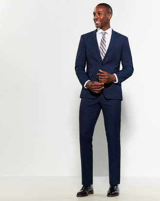 Vince Camuto Two-Piece Blue Twill Slim Fit Wool Suit