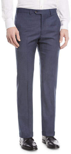 Emporio Armani Textured Wool Flat-Front Trousers, Blue