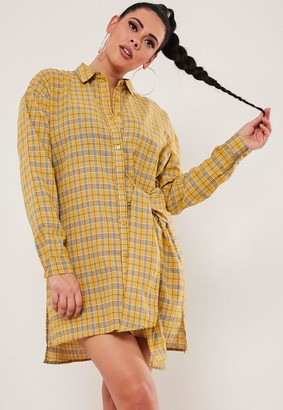 Missguided Plus Size Yellow Plaid Tie Side Oversized Shirt Dress