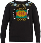 Gucci Logo-print floral-embroidered cotton sweatshirt