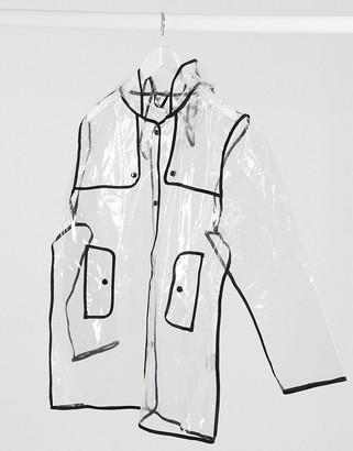 AX Paris clear raincoat with black edging