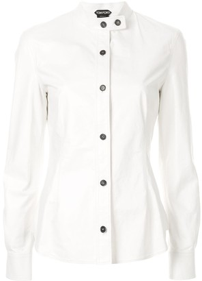 Tom Ford Band Collar Leather Shirt