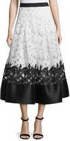 Sachin + Babi Colorblock Lace Jacquard Midi Skirt, Ivory/Jet