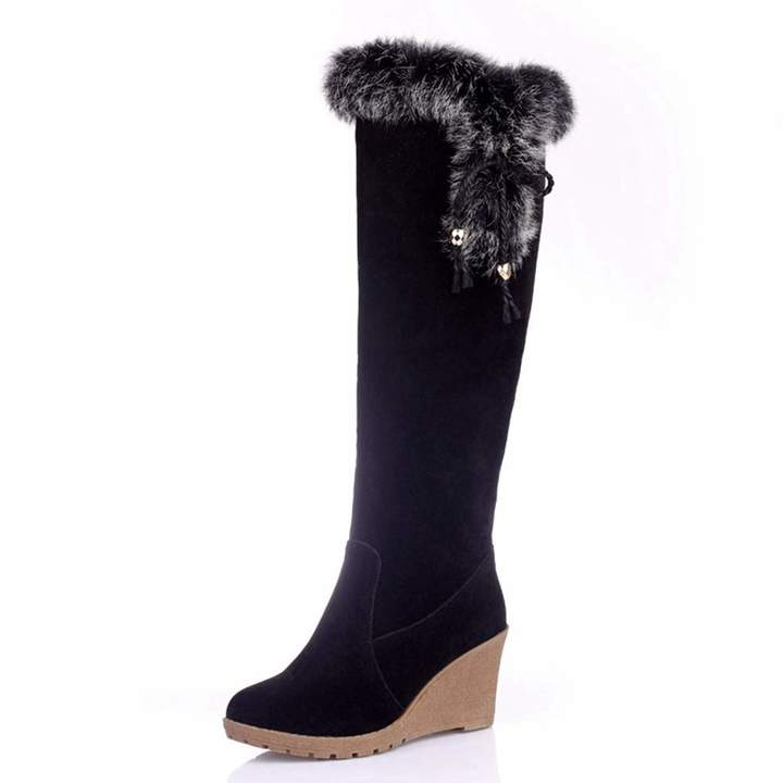 db81ba20736fc ZX Boots Women's Knee High Wedge Boots Tassel Bowknot Cozy Full Fur Lined  Tall Western Riding Boots(-)
