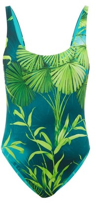 Versace Jungle-print Scoop-back Swimsuit - Green Print