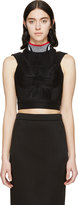 Alexander Wang Black Accordion Pleat Sport Crop Top